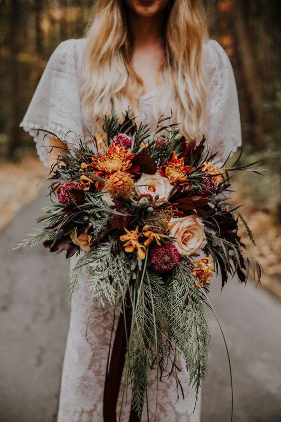 burnt-orange-flower-bouquet